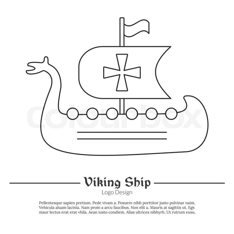 medieval viking ship boat single logo in modern thin line style