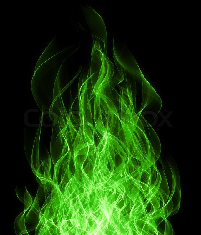 Green Toxic Fire Flame On Black Background Stock Photo