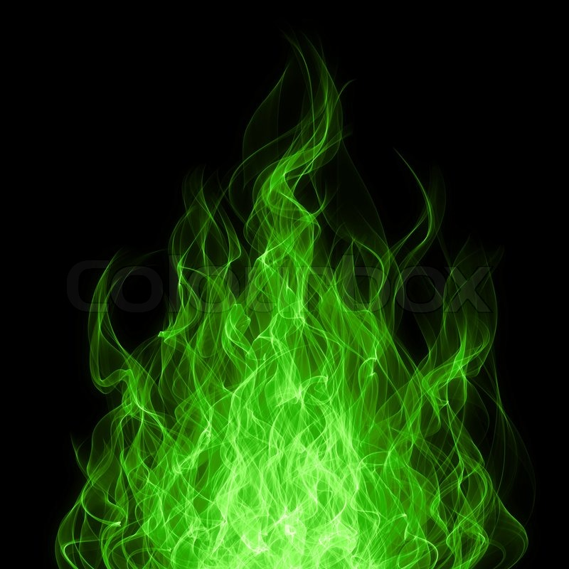Green Toxic Fire Flame On Black Stock Photo Colourbox