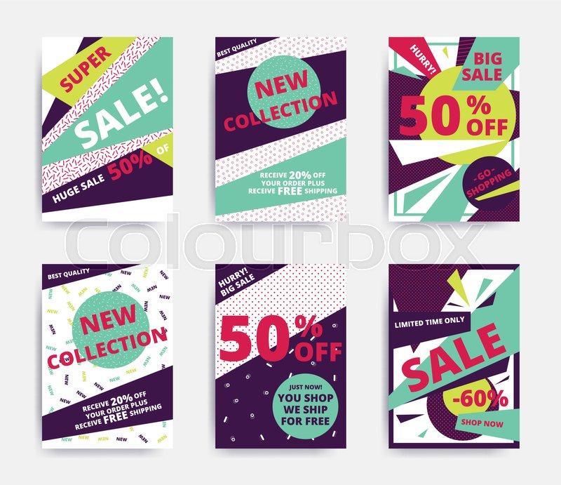 bright design sale set website banner template bright colorful