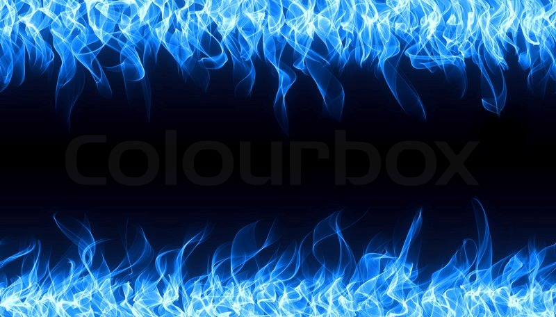 Blue Gas Fire Flame On Black Background Stock Photo Colourbox