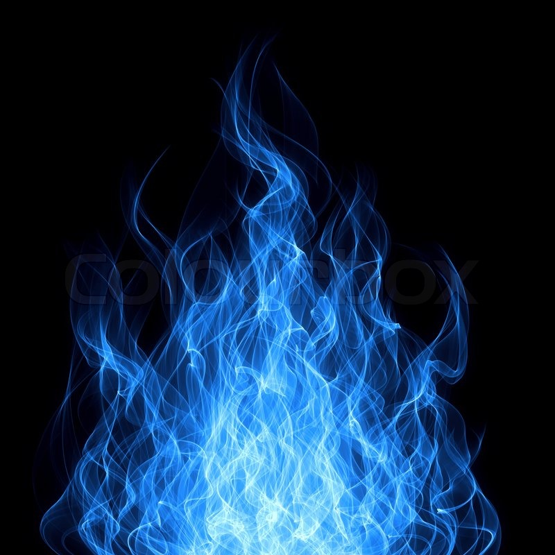 Blue gas fire flame on black background