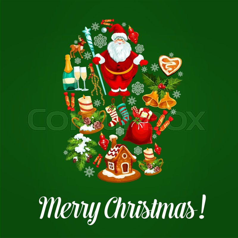 Merry Christmas Greeting Vector Poster With Christmas Symbols In