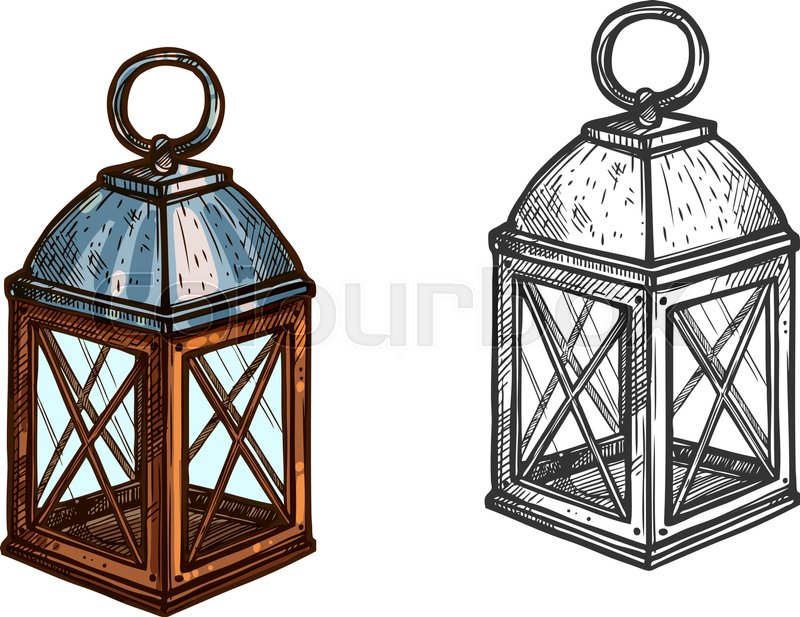 Christmas Lantern Retro Candle Light Lamp For New Year Celebration Isolated Vector Sketch Icon