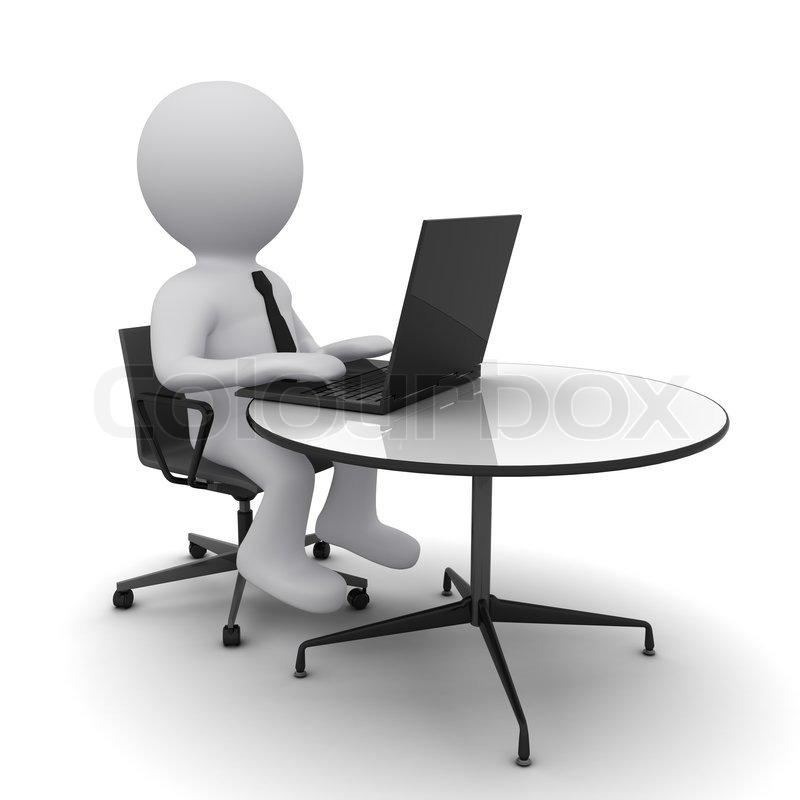 3d Mann Am Tisch Sitzen Und Arbeiten An Einem Laptop
