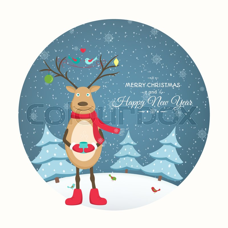 Funny Reindeer Cartoon Character With Decorated Antlers Surrounded By Birds Winter Snow Evening Landscape Round Shape Cutout Vector Design Illustration
