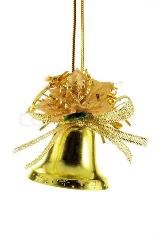 golden christmas bell isolated over white background stock photo - Christmas Bell