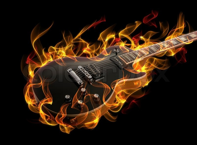 Electric Guitar In Fire And Flames On Black Background