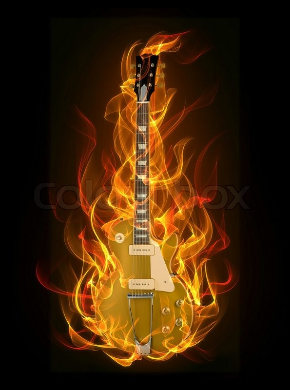 Electric guitar in fire and flames on black background ...