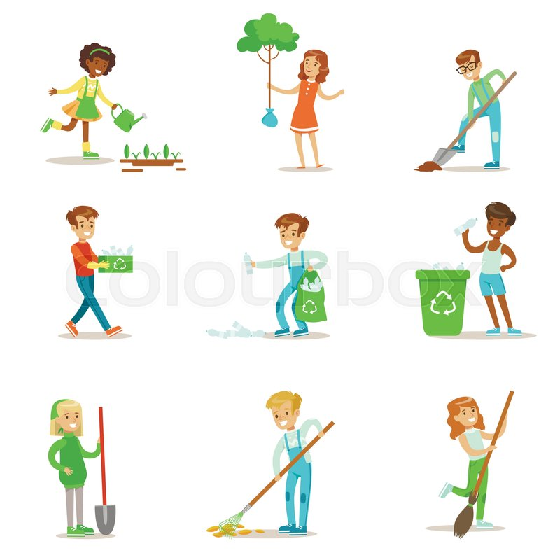 kids gardening illustration. happy kids interacting with nature and participating in garden cleanup procedures set of vector illustrations gardening illustration