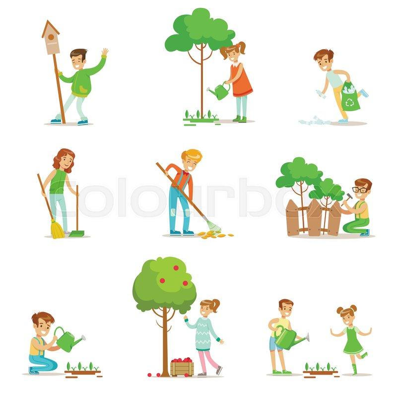 Children Helping In Eco-Friendly ... | Stock Vector ...