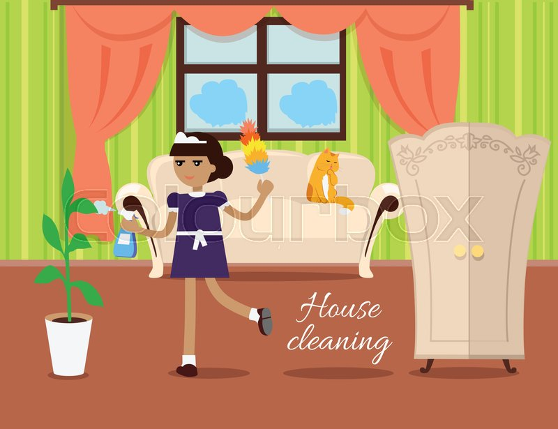 House cleaning vector in flat design. Maid with whisk dust and ...