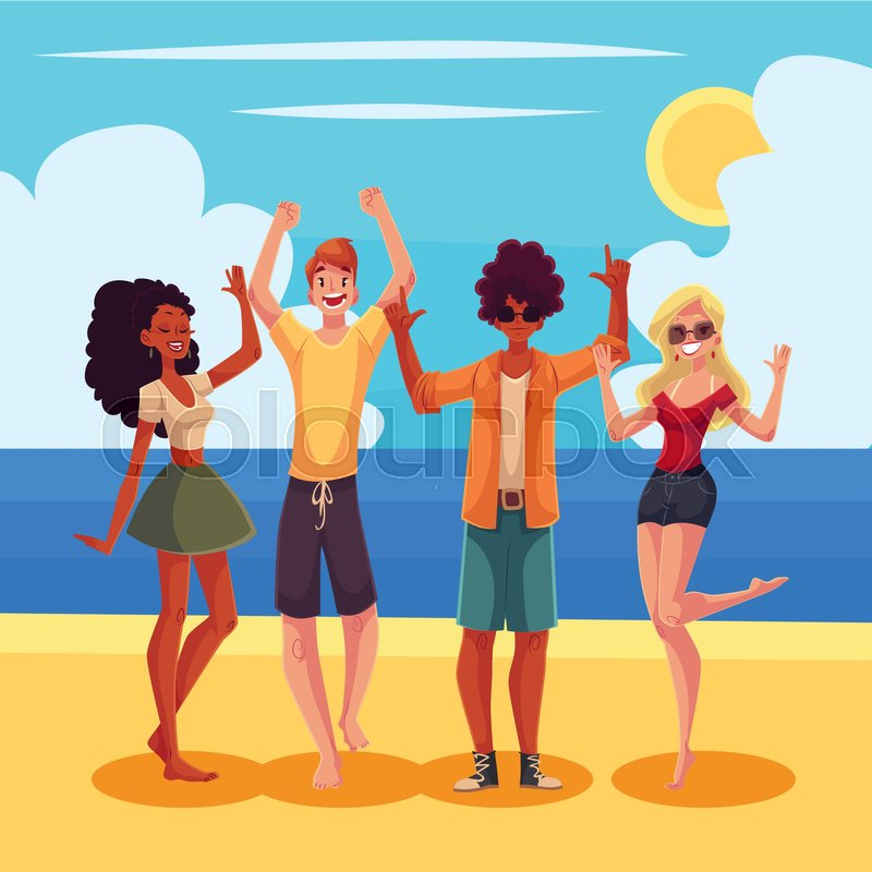 Young people dancing on the beach, ...   Stock Vector ...