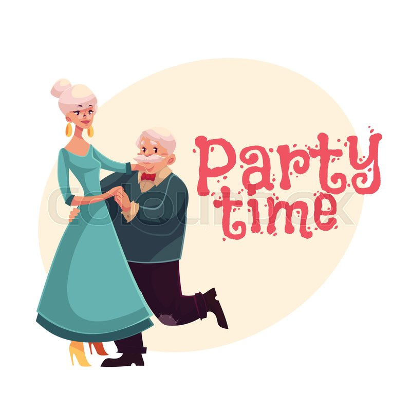 Old, senior man and woman dancing, cartoon style invitation ...