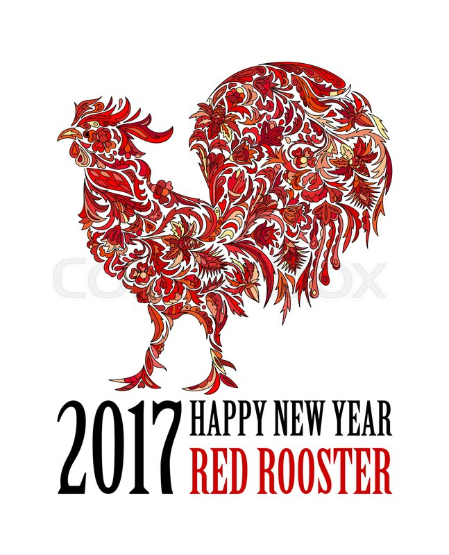 Red Rooster Symbol Of 2017 On The Chinese Calendar Happy New Year