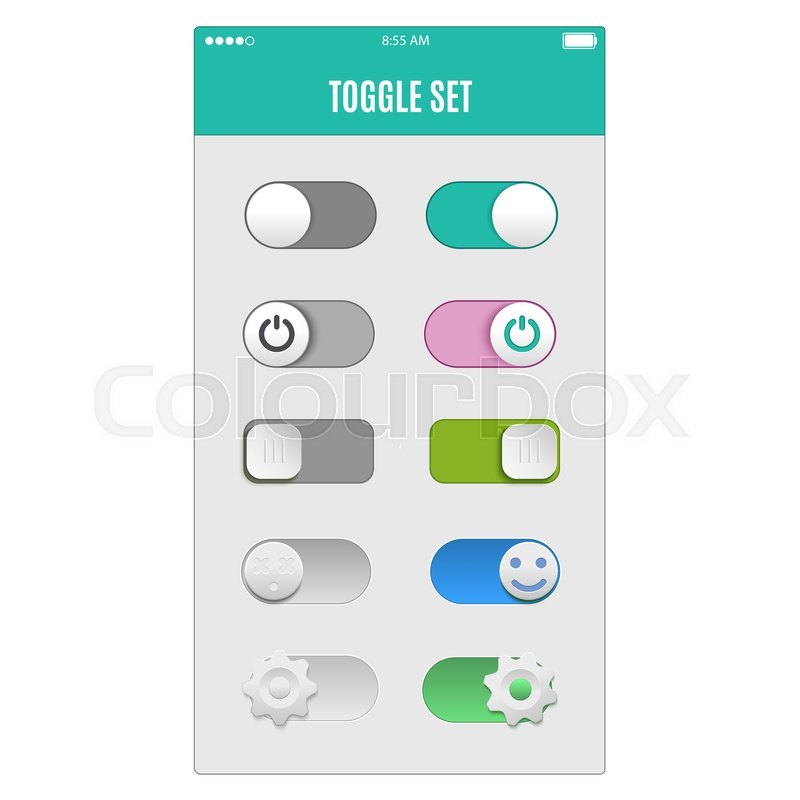 Toggle Switch Set On And Off Sliders Vector Elements For Your