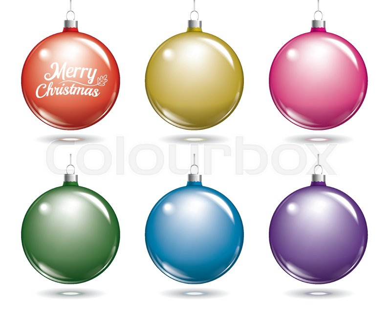 colorful christmas balls set of isolated multicolor ball decorations stock vector colourbox
