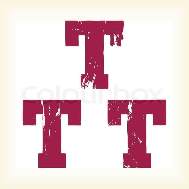 Grunge Vector T Letter Vector Type Alphabet Slab Serif Font