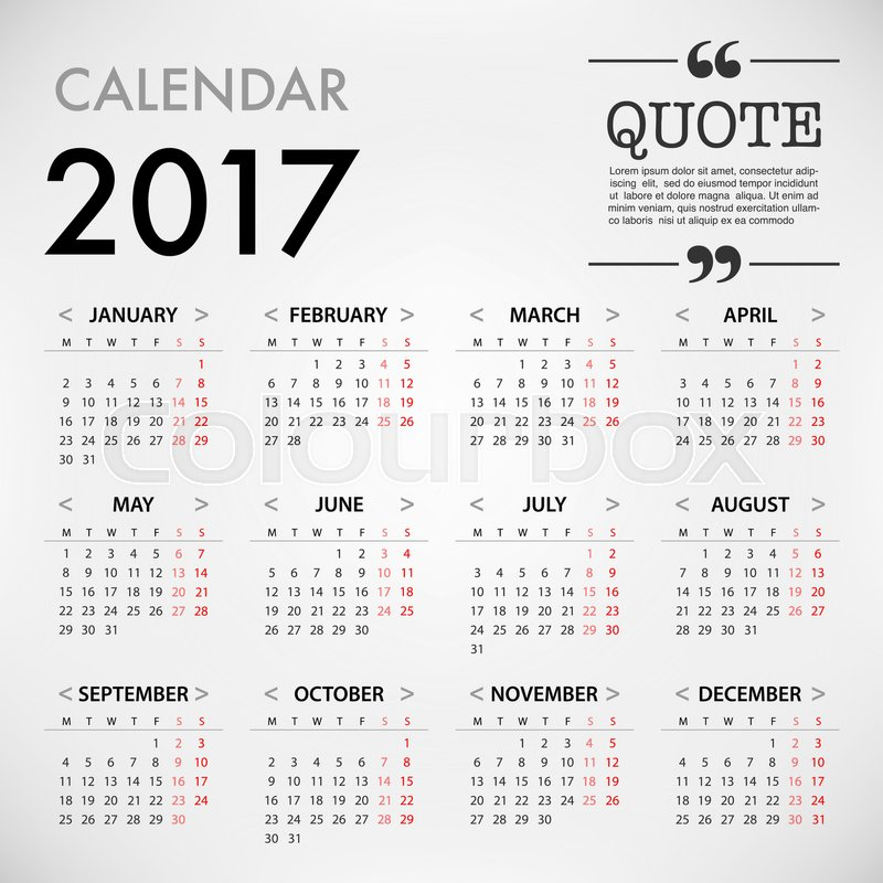 Calendar For 2017 On White Background With Quote On Right Corner For  Organization And Business. Week Starts Monday. Simple Vector Template.