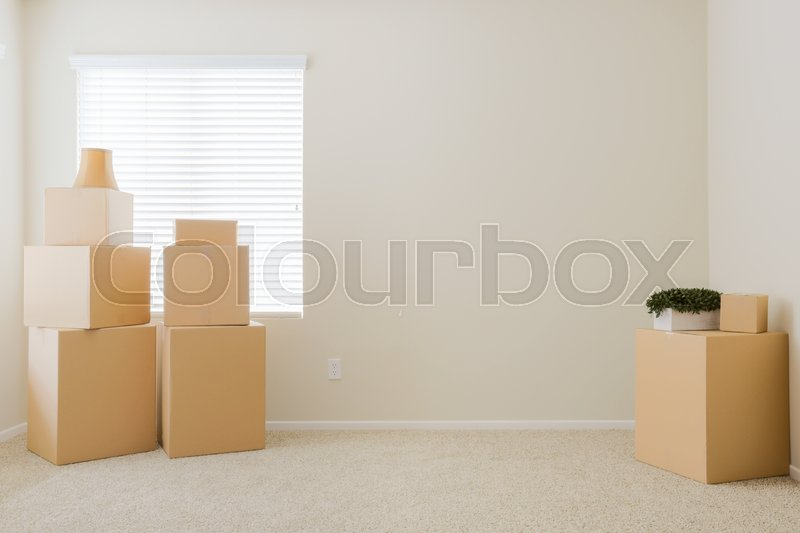 Variety of Packed Moving Boxes and Potted Plants In Empty Room with Room For Text, stock photo