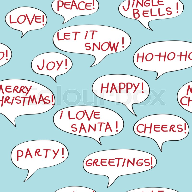 Christmas greetings seamless pattern with comics speech bubbles christmas greetings seamless pattern with comics speech bubbles cartoon elements over a blue background stock vector colourbox m4hsunfo