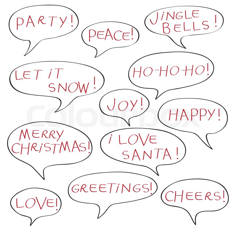 Comics speech bubbles with christmas greetings text elements comics speech bubbles with christmas greetings text elements isolated isolated on white stock vector colourbox m4hsunfo