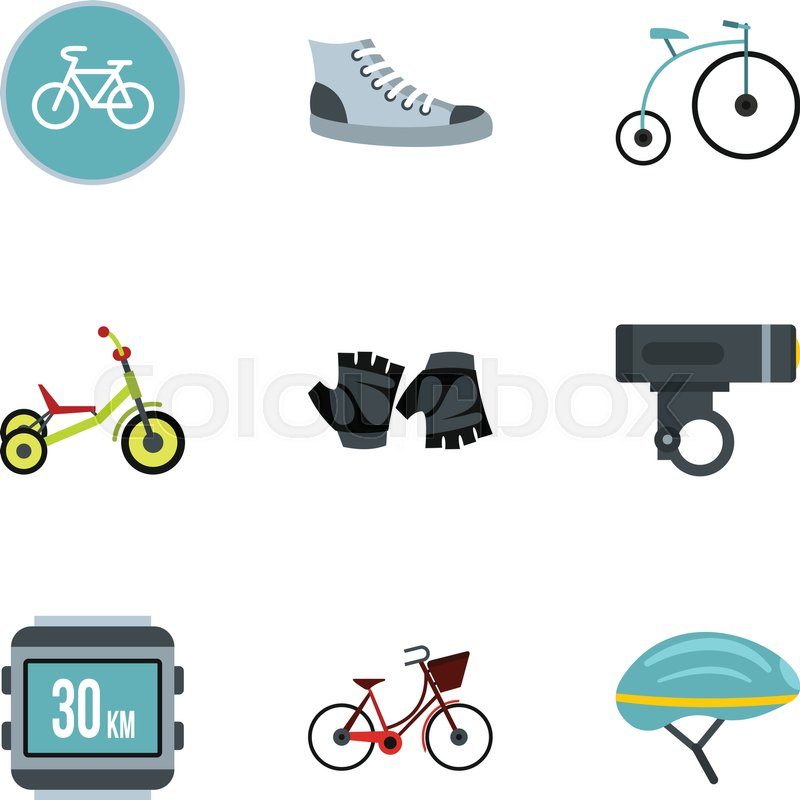 Bicycle Parts Icons Set Flat Stock Vector Colourbox