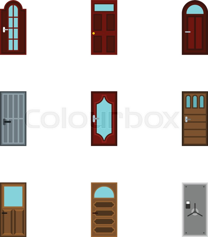 Exterior Doors Icons Set Flat Illustration Of 9 Exterior Doors