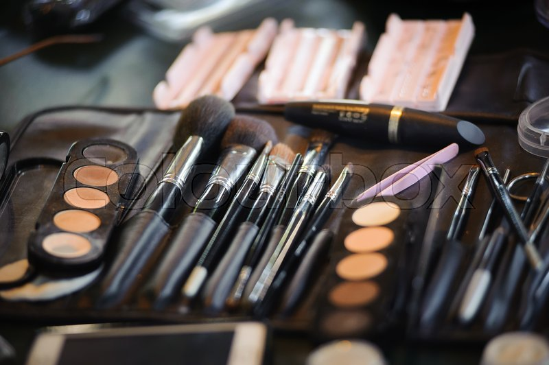 Various make-up and cosmetics products at beauty salon, stock photo