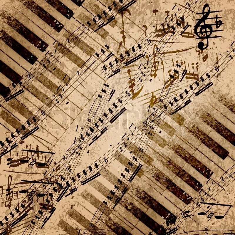 Music notes on old paper sheet background | Stock Photo | Colourbox