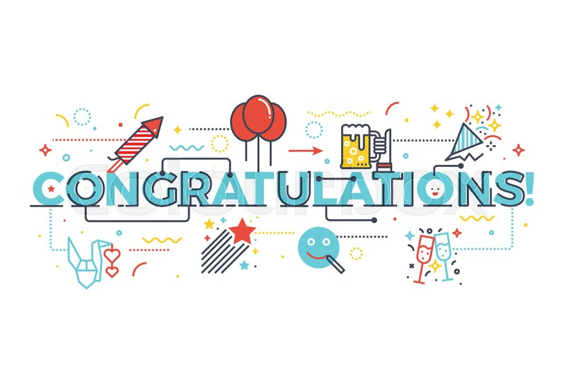 congratulations word for celebration concept word lettering design
