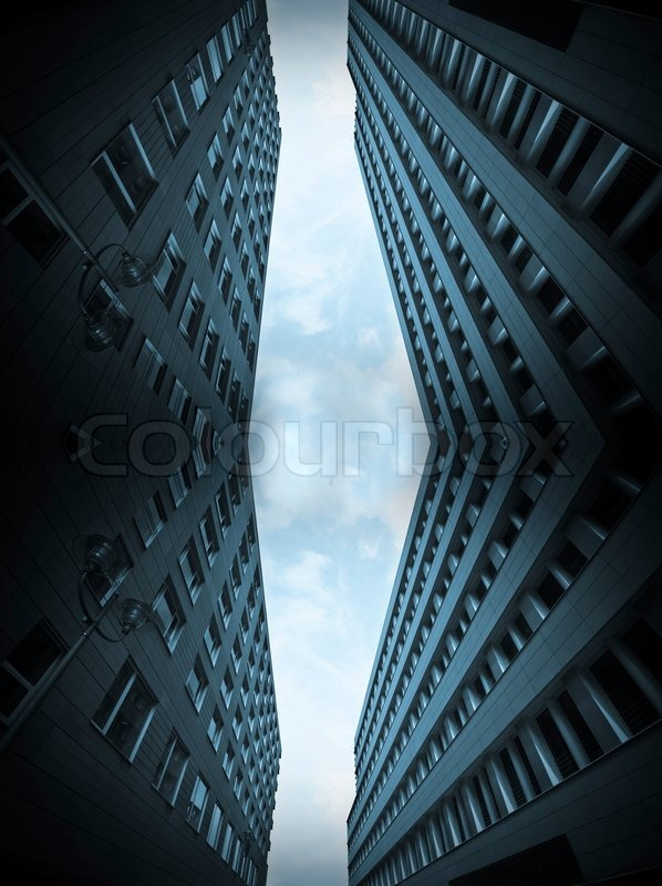 Stock image of 'Blue office buildings collage'