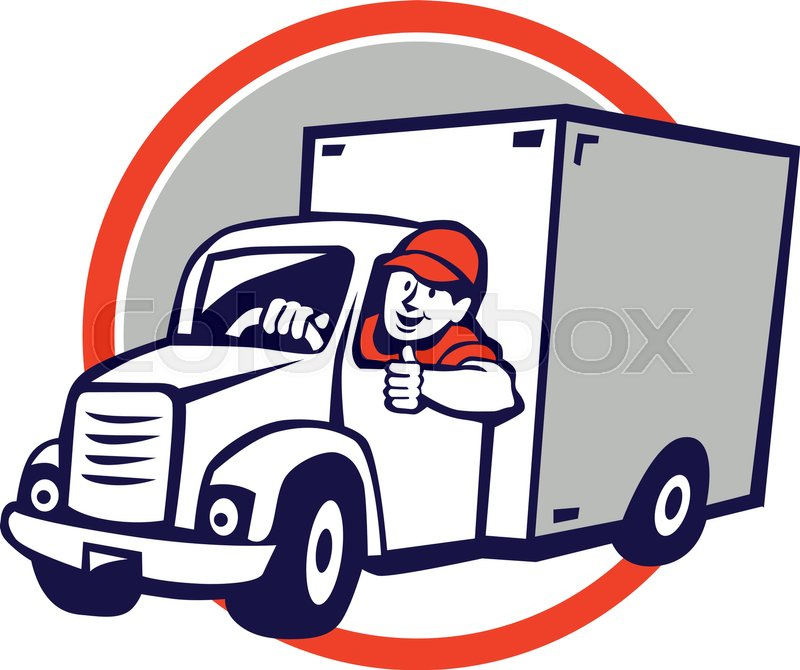 Illustration of a delivery van driver driving doing a thumbs up set ...