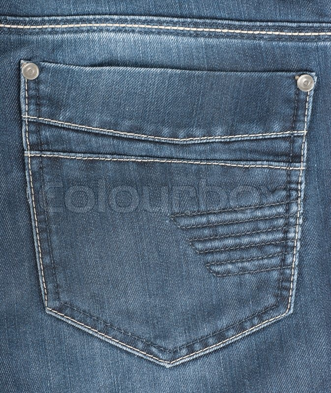 The background of the back pocket of blue jeans | Stock Photo | Colourbox