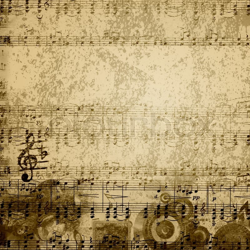 Music notes on old paper sheet background stock photo for Irish mail cart plans