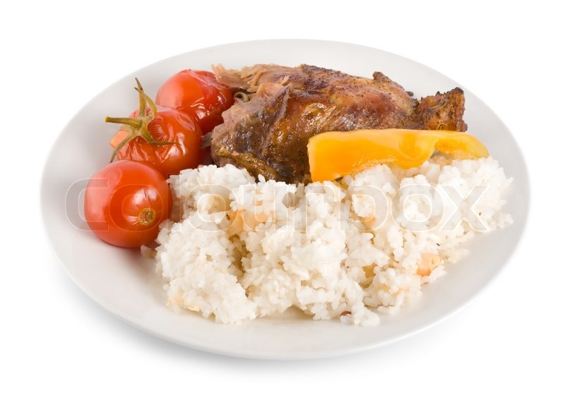 Boiled Rice With Chicken Isolated On A Stock Image