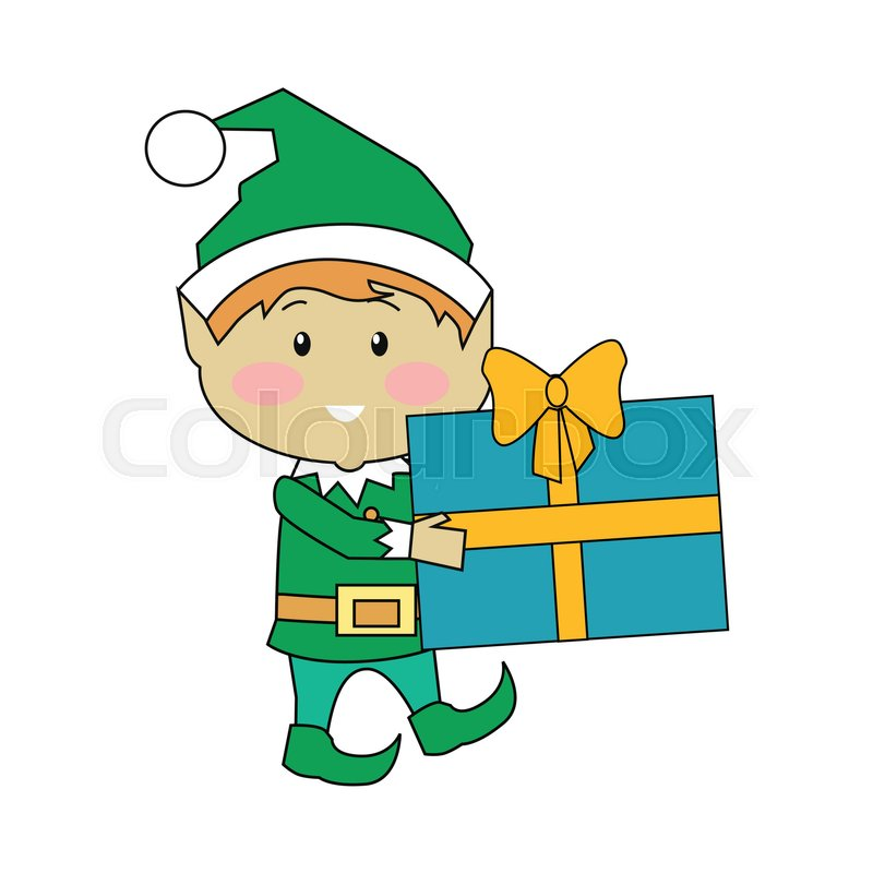 Fairy elves with christmas presents. Flat design vector. Funny ...