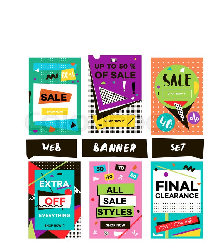 Media Banners For Online Shopping Design Mobile Website Posters Email And Newsletter Vector Creative Sale Template With Hand Drawn