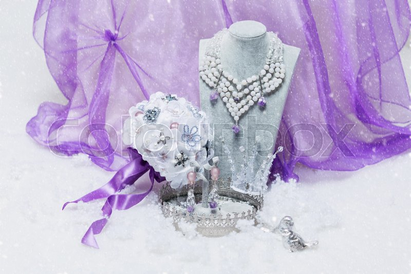 Beautiful set of natural stone bridal accessories including necklace, ring, earrings, bracelets and wedding bouquet. Copy space, stock photo