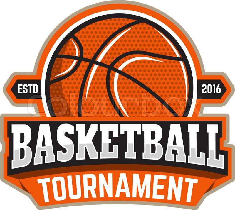 basketball tournament emblem template with basketball ball design