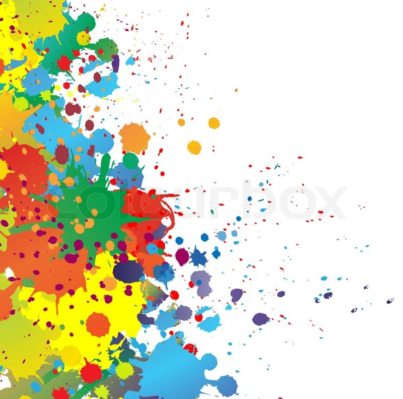 Colorful bright ink splashes on white background | Stock