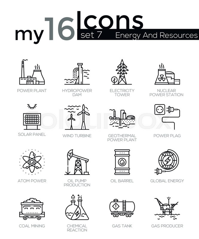 Modern thin line icons set of energy produsing industry, power ...