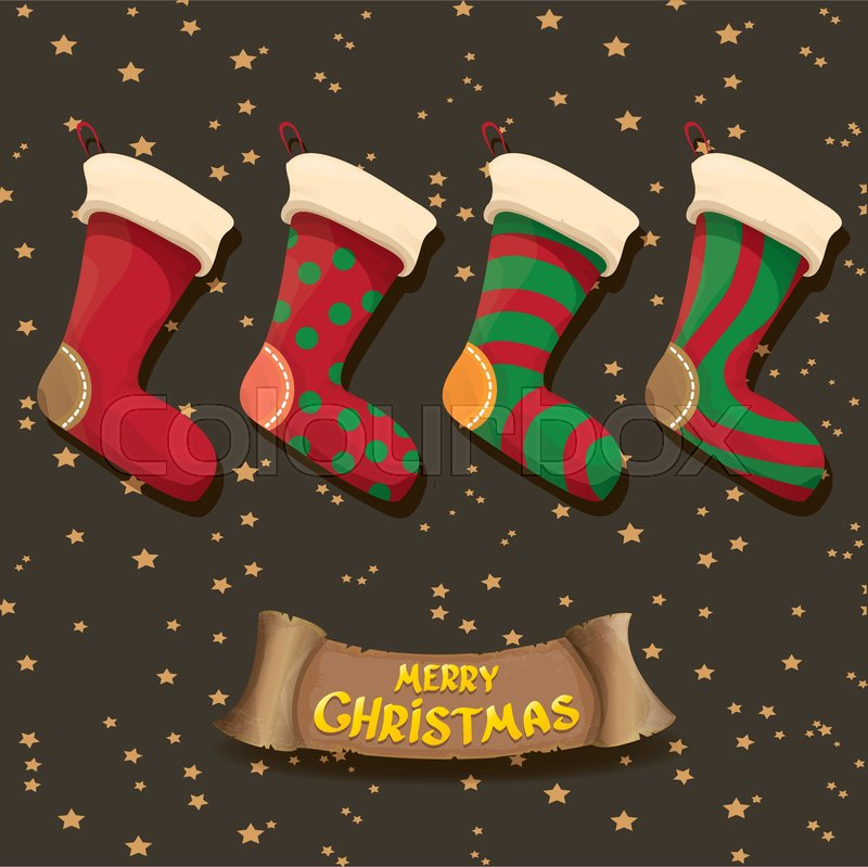 Stock Vector Of Cartoon Cute Christmas Stocking Or Socks With Color Ornament Merry
