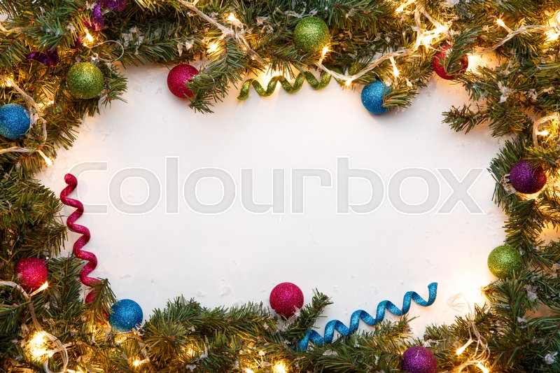 Empty space for Christmas wishes with branches of fir, stock photo