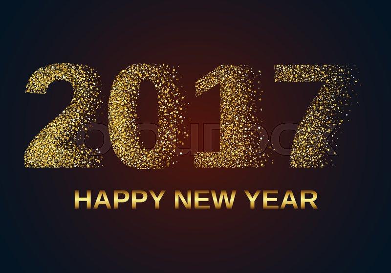 Gold Glitter Happy New Year 2017 Stock Photo Colourbox
