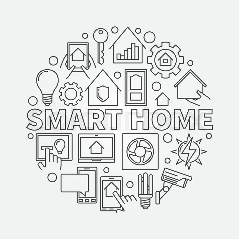 smart home outline illustration vector round symbol made with icons and word smart home in thin. Black Bedroom Furniture Sets. Home Design Ideas