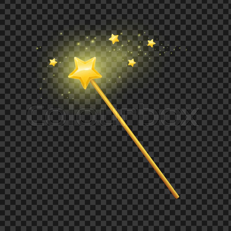 Golden Magic Wand With Star On Transparent Background Symbol Of