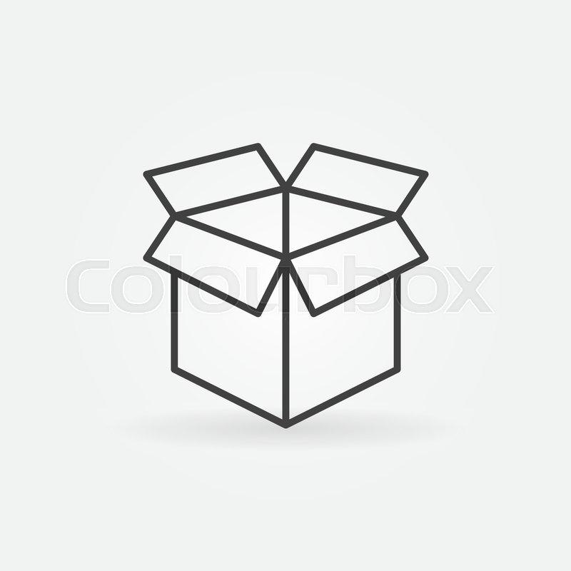 Open Box Line Icon Vector Minimal Box Symbol Or Logo Element