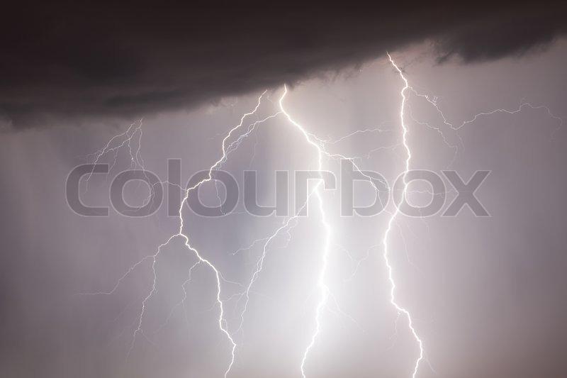 Storm weather nature lightning at rain cloud sky, stock photo