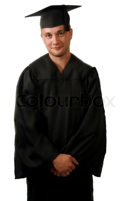 A man in a graduation cap and gown | Stock Photo | Colourbox